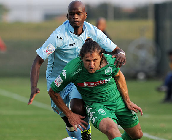 Marc van Heerden of AmaZulu battles with Mandla Mdunge of Thanda Royal Zulu during the 2015/16 National First Division match between Thanda Royal Zulu and AmaZulu at the Umhlathuze Sports Complex, Richards Bay on the 29th of August 2015