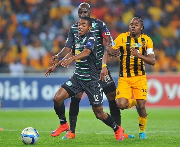 Thapelo Morena of Bloemfontein Celtic challenged by Siphiwe Tshabalala of Kaizer Chiefs during the 2015 MTN8 semifinal, second leg football match between Kaizer Chiefs and Bloemfontein Celtic at Soccer City in Johannesburg, South Africa on August 29, 2015 ©Samuel Shivambu/BackpagePix