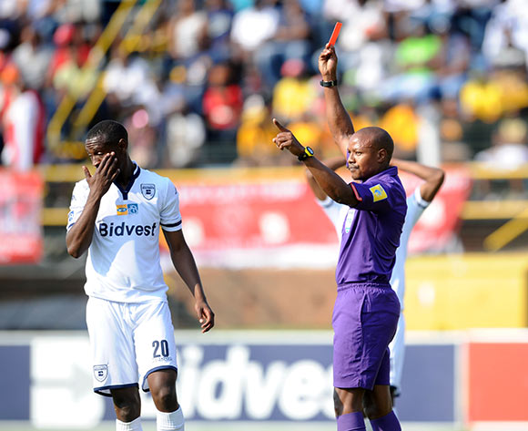 Siyabonga Nhlapo of Bidvest Wits being sent off by Referee Kulasande Qonngqo during the MTN8 Semi Final 2nd Leg between Bidvest Wits and Ajax Cape Town on 30 August 2015 at Bidvest Stadium Pic Sydney Mahlangu/ BackpagePix