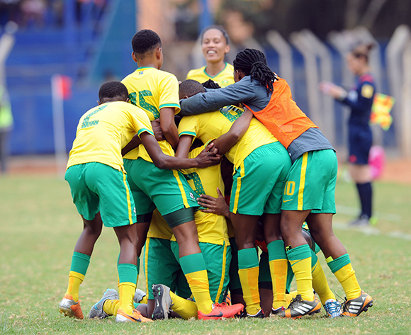 Rhoda Mulaudzi of South Africa celebrates a goal with teammates during the Olympic Qualifier 2nd Leg match between Kenya and South Africa on 02 August 2015 at Machakos Stadium  Pic Sydney Mahlangu/ BackpagePix