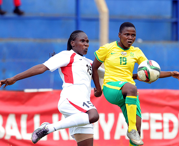 Rhoda Mulaudzi of South Africa is challenged by Dorcas Sikobe of Kenya   during the Olympic Qualifier 2nd Leg match between Kenya and South Africa on 02 August 2015 at Machakos Stadium  Pic Sydney Mahlangu/ BackpagePix