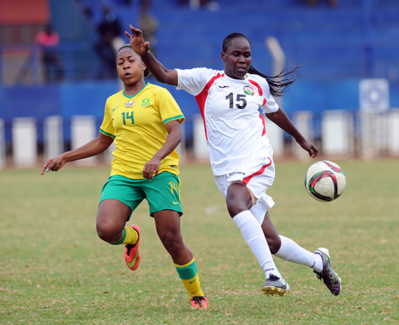 Sanah Mollo of South Africa is challenged by Dorcas Sikobe of Kenya   during the Olympic Qualifier 2nd Leg match between Kenya and South Africa on 02 August 2015 at Machakos Stadium  Pic Sydney Mahlangu/ BackpagePix