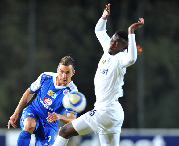 Bradley Grobler of Supersport United challenged by Buhle Mkhwanazi of Bidvest Wits during the 2015 MTN8 match between Bidvest Wits and Supersport United at the Bidvest Stadium in Johannesburg, South Africa on August 04, 2015