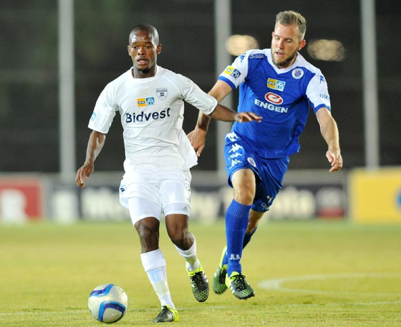 Phumlani Ntshangase of Bidvest Wits challenged by Jeremy Brockie of Supersport United during the 2015 MTN8 match between Bidvest Wits and Supersport United at the Bidvest Stadium in Johannesburg, South Africa on August 04, 2015