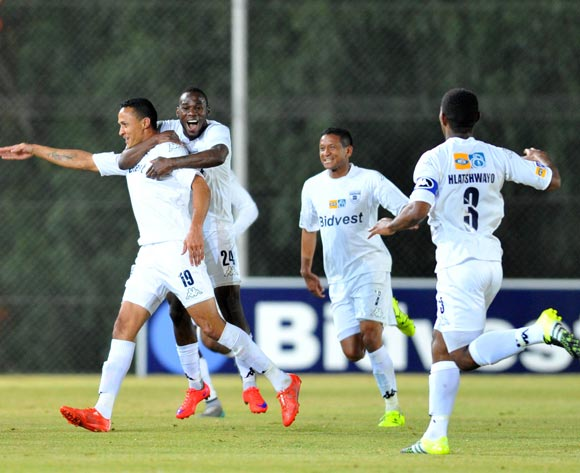 Henrico Botes of Bidvest Wits celebrates his goal with teammates during the 2015 MTN8 match between Bidvest Wits and Supersport United at the Bidvest Stadium in Johannesburg, South Africa on August 04, 2015