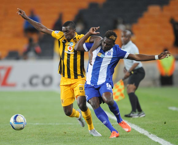 Siyanda Xulu of Kaizer Chiefs is challenged  by Mohammed Anas of Maritzburg United during the MTN8 Quarter Final between Kaizer Chiefs and Maritzburg United on 05 August 2015 at FNB Stadium