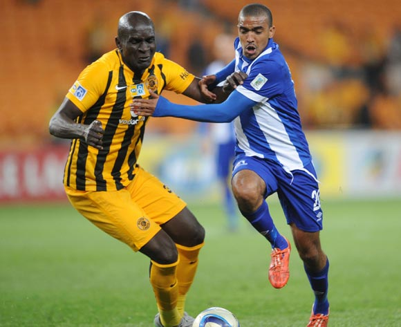 Willard Katsande of Kaizer Chiefs is challenged  by Deolin Mekoa of Maritzburg United during the MTN8 Quarter Final between Kaizer Chiefs and Maritzburg United on 05 August 2015 at FNB Stadium