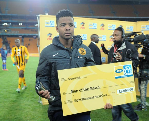 George Lebese of Kaizer Chiefs awarded man of the match during the MTN8 Quarter Final between Kaizer Chiefs and Maritzburg United on 05 August 2015 at FNB Stadium