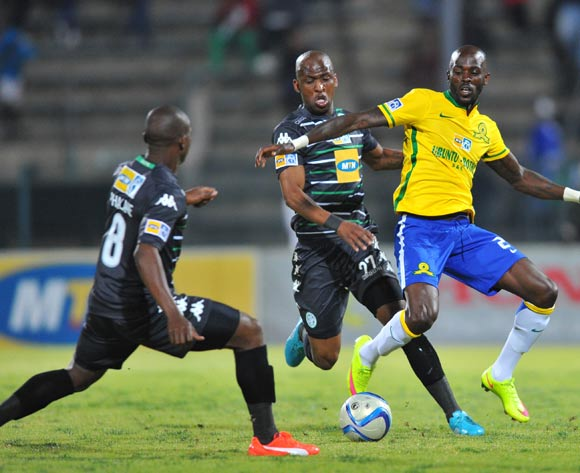 Anthony Laffor of Mamelodi Sundowns challenged by Alfred Ndengane of Bloemfontein Celtic during the 2015 MTN8 Quarter Final match between Mamelodi Sundowns and Bloemfontein Celtic at the Lucas Moripe Stadium in Pretoria, South Africa on August 05, 2015