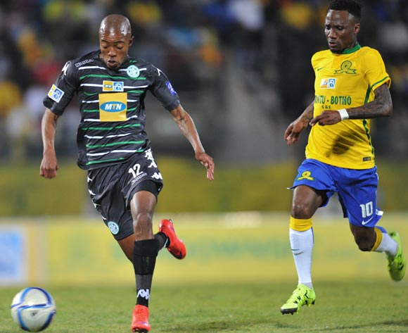 Thapelo Morena of Bloemfontein Celtic challenged by Teko Modise of Mamelodi Sundowns during the 2015 MTN8 Quarter Final match between Mamelodi Sundowns and Bloemfontein Celtic at the Lucas Moripe Stadium in Pretoria, South Africa on August 05, 2015