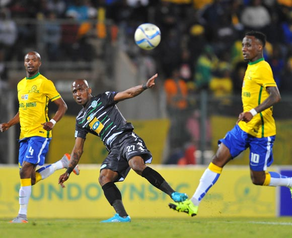 Alfred Ndengane of Bloemfontein Celtic challenged by Teko Modise of Mamelodi Sundowns during the 2015 MTN8 Quarter Final match between Mamelodi Sundowns and Bloemfontein Celtic at the Lucas Moripe Stadium in Pretoria, South Africa on August 05, 2015