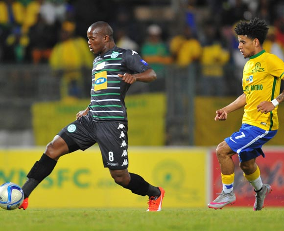 Lantshene Phalane of Bloemfontein Celtic challenged by Keagan Dolly of Mamelodi Sundowns during the 2015 MTN8 Quarter Final match between Mamelodi Sundowns and Bloemfontein Celtic at the Lucas Moripe Stadium in Pretoria, South Africa on August 05, 2015