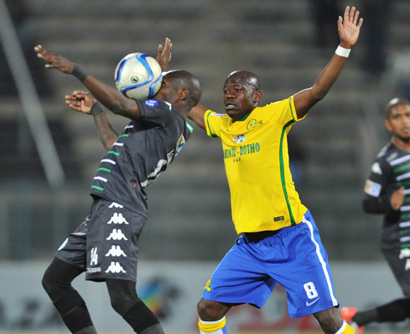 Lerato Lamola of Bloemfontein Celtic challenged by Hlompho Kekana of Mamelodi Sundowns during the 2015 MTN8 Quarter Final match between Mamelodi Sundowns and Bloemfontein Celtic at the Lucas Moripe Stadium in Pretoria, South Africa on August 05, 2015