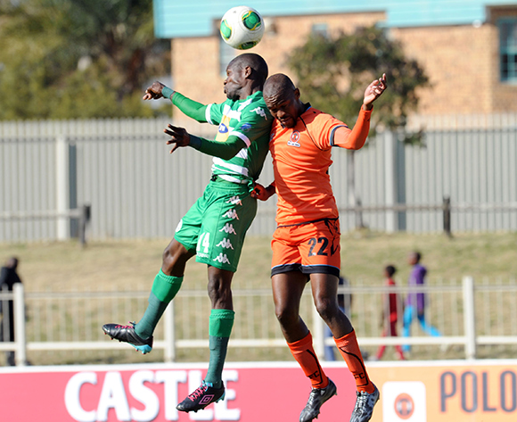 Lerato Lamola of Bloemfontein Celtic is challenged by Sibusiso Mbonani of Polokwane City  during the Absa Premiership match between Polokwane City and Bloemfontein Celtic  on 08 August 2015 at Goble Park Pic Sydney Mahlangu/ BackpagePix