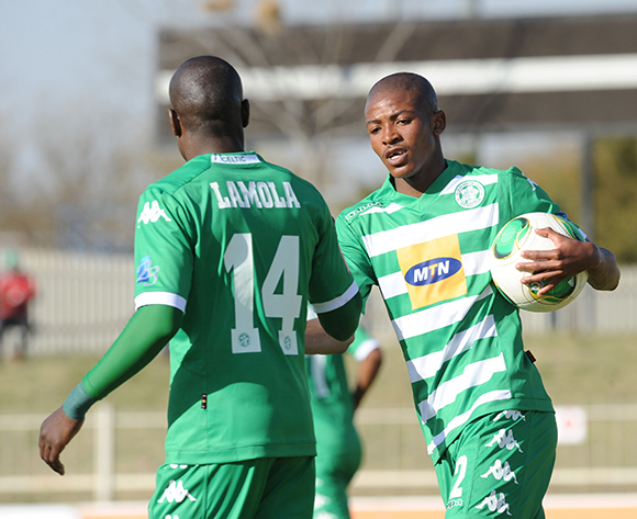 Thapelo Morena of Bloemfontein Celtic (r) celebrates a goal with teammate Lerato Lamola of Bloemfontein Celtic  during the Absa Premiership match between Polokwane City and Bloemfontein Celtic  on 08 August 2015 at Old Peter Mokaba StadiumPic Sydney Mahlangu/ BackpagePix