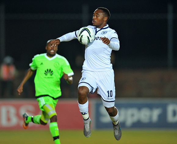 Sibusiso Vilakazi of Bidvest Wits challenged by Bantu Mzwakali of Ajax Cape Town during the Absa Premiership match between Bidvest Wits and Ajax Cape Town at the Bidvest Stadium in Johannesburg, South Africa on August 08, 2015 ©Samuel Shivambu/BackpagePix
