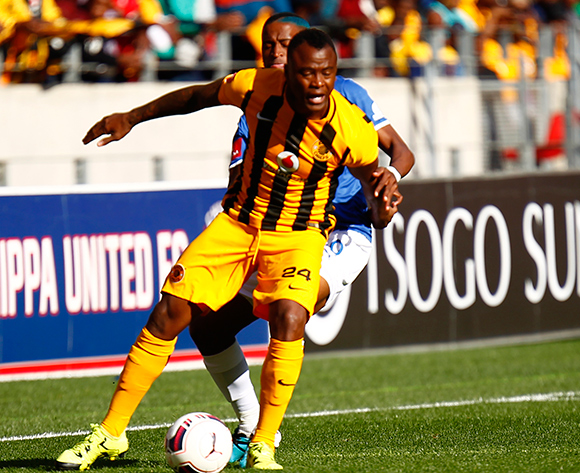 Tsepo Masilela of Kaizer Chiefs (L) and William Twala of Chippa United do battle for the ball during the Absa Premiership football Match between Chippa United and Kaizer Chiefs at the Nelson Mandela Bay Stadium on 9 August 2015 © Michael Sheehan/BackpagePix