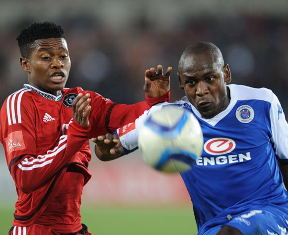Sibusiso Khumalo of Supersport United is challenged by Menzi Masuku of Orlando Pirates during the Absa Premiership match between Supersport United and Orlando Pirates on 11 August 2015 at Peter Mokaba Stadium
