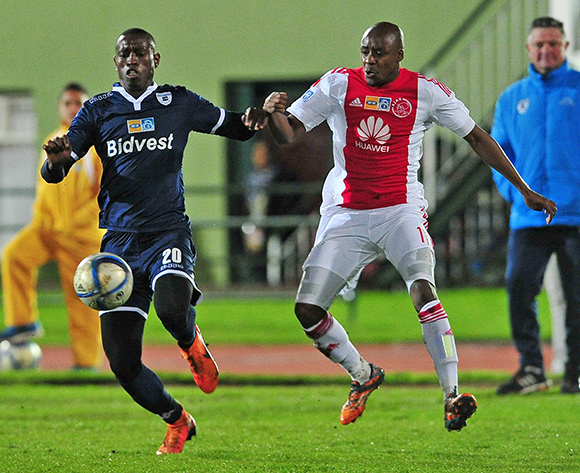 Siyabonga Nhlapo of Bidvest Wits and Bantu Mzwakali of Ajax Cape Town battle for possession during the 2015 MTN8 Semifinal first leg game between Ajax Cape Town and Bidvest Wits at Coetzenburg Stadium, Stellenbosch on 15 August 2015  ©Ryan Wilkisky/BackpagePix