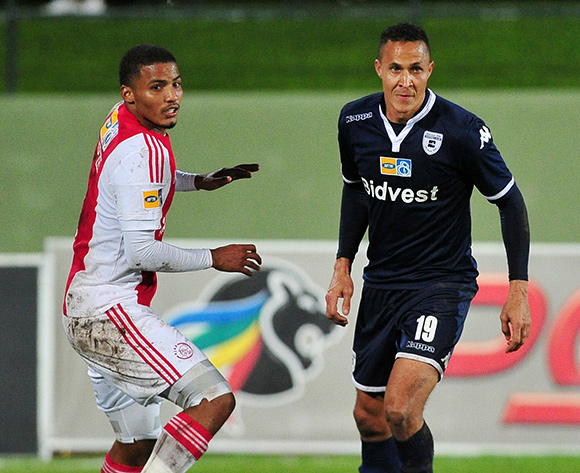 Henrico Botes of Bidvest Wits on the ball ahead of Rivaldo Coetzee of Ajax Cape Town during the 2015 MTN8 Semifinal first leg game between Ajax Cape Town and Bidvest Wits at Coetzenburg Stadium, Stellenbosch on 15 August 2015  ©Ryan Wilkisky/BackpagePix