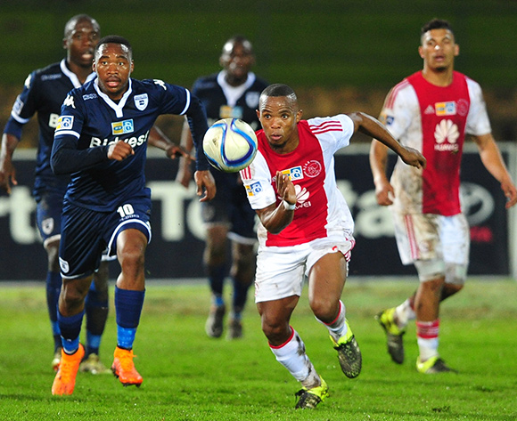 Cecil Lolo of Ajax Cape Town and Sibusiso Vilakazi of Bidvest Wits give chase during the 2015 MTN8 Semifinal first leg game between Ajax Cape Town and Bidvest Wits at Coetzenburg Stadium, Stellenbosch on 15 August 2015  ©Ryan Wilkisky/BackpagePix