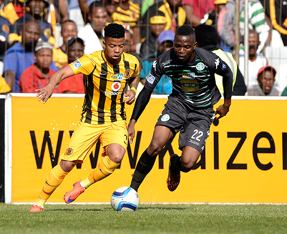 Tshepo Rikhotso from Bloemfontein Celtic FC. and George Lebese from Kaizer Chiefs FC during the Absa Premiership match between Bloemfontein Celtic FC and Kaizer Chiefs FC at the Free State Stadium  on 16 August 2015. ©Gerhard Steenkamp/BackpagePix