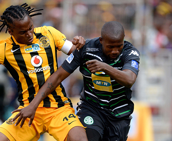Siphiwe Tsabalala from Kaizer Chiefs FC and Tumelo Mogapi from Bloemfontein Celtic FC. during the Absa Premiership match between Bloemfontein Celtic FC and Kaizer Chiefs FC at the Free State Stadium  on 16 August 2015. ©Gerhard Steenkamp/BackpagePix