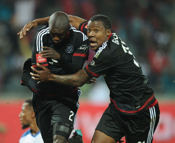 Ayanda Gcaba of Orlando Pirates (2) celebrates a goal with teammates  during the Absa Premiership match between Orlando Pirates and Chippa United on 18 August 2015 at Orlando Stadium