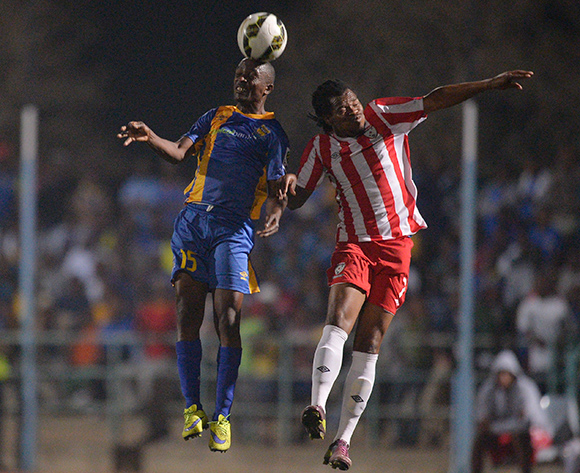 of Township Rollers and  Kenanao Flo Kgetholetsile Lawrence Majawa of Jwaneng Galaxy FC during the 2015/16 beMobile Premiership football match between Township Rollers and Jwaneng Galaxy FC at Molepolole Sports Complex , Botswana on  August 21, 2015.  ©Monirul Bhuiyan/BackpagePix