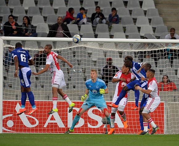 Tamsanqa Teyise of Maritzburg United heads a goal during the Absa Premiership 2015/16 football match between Ajax Cape Town and Maritzburg United at Cape Town Stadium, Cape Town on 22 August 2015 ©Chris Ricco/BackpagePix