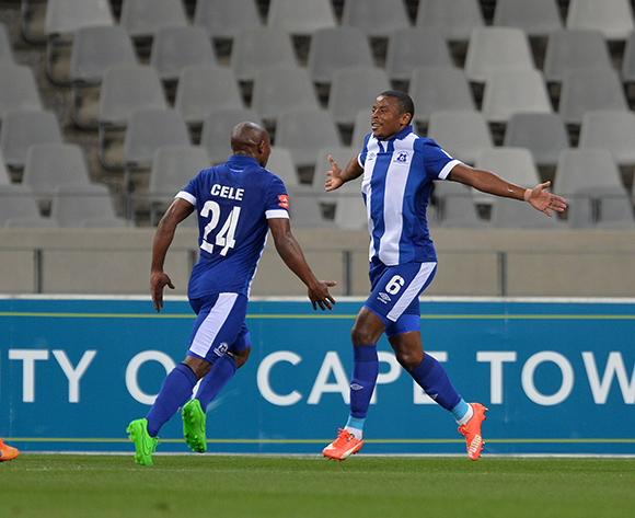 Tamsanqa Teyise of Maritzburg United celebrates goal with teammates during the Absa Premiership 2015/16 football match between Ajax Cape Town and Maritzburg United at Cape Town Stadium, Cape Town on 22 August 2015 ©Chris Ricco/BackpagePix