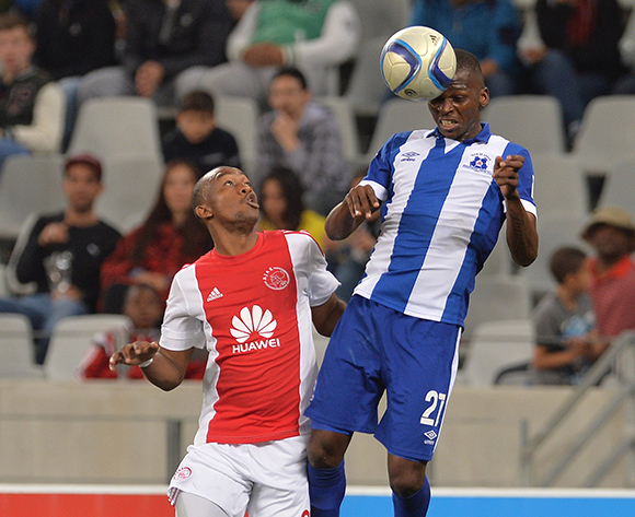 Thamsanqa Mkhize of Maritzburg United battles for the ball with Milton Ncube of Ajax Cape Town during the Absa Premiership 2015/16 football match between Ajax Cape Town and Maritzburg United at Cape Town Stadium, Cape Town on 22 August 2015 ©Chris Ricco/BackpagePix