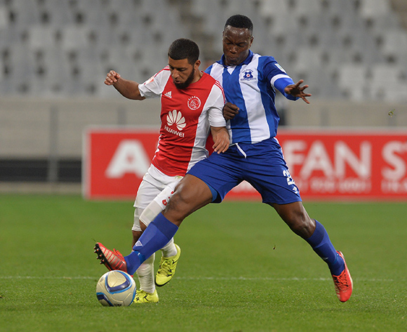 Riyaad Norodien of Ajax Cape Town tackled by Philani Zulu of Maritzburg United during the Absa Premiership 2015/16 football match between Ajax Cape Town and Maritzburg United at Cape Town Stadium, Cape Town on 22 August 2015 ©Chris Ricco/BackpagePix