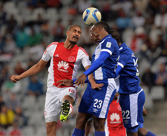 Abbubaker Mobara of Ajax Cape Town battles for the ball with Philani Zulu of Maritzburg United and Mohau Mokate of Maritzburg United during the Absa Premiership 2015/16 football match between Ajax Cape Town and Maritzburg United at Cape Town Stadium, Cape Town on 22 August 2015 ©Chris Ricco/BackpagePix