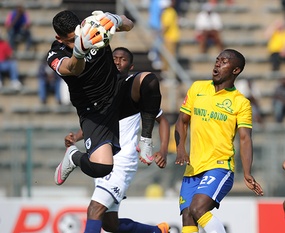 Cuthbert Malajila of Mamelodi Sundowns is challenged by Moeneeb Josephs of Bidvest Wits during the Absa Premiership match between Mamelodi Sundowns and Bidvest Wits on 22 August 2015 at Lucas Moripe Stadium Pic Sydney Mahlangu/ BackpagePix
