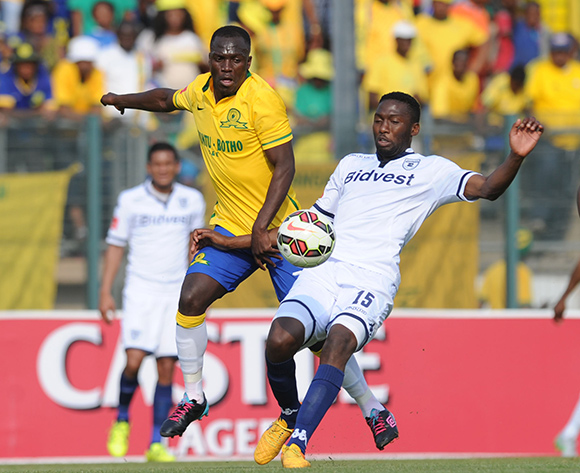 Cuthbert Malajila of Mamelodi Sundowns challenges for the ball with Buhle Mkhwanazi of Bidvest Wits during the Absa Premiership match between Mamelodi Sundowns and Bidvest Wits on 22 August 2015 at Lucas Moripe Stadium Pic Sydney Mahlangu/ BackpagePix