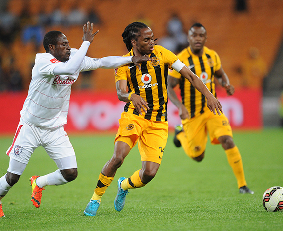 Felix Obada of Free State Stars challenges Siphiwe Tshabalala of Kaizer Chiefs during the Absa Premiership match between Kaizer Chiefs and Free State Stars  on 22 August 2015 at FNB Stadium Pic Sydney Mahlangu/ BackpagePix