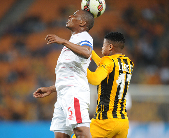 Paulus Masehe of Free State Stars challenges for the ball with George Lebese of Kaizer Chiefs  during the Absa Premiership match between Kaizer Chiefs and Free State Stars  on 22 August 2015 at FNB Stadium Pic Sydney Mahlangu/ BackpagePix