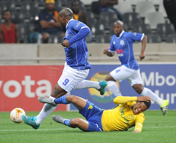 Thabo Nthethe of Mamelodi Sundowns tackles Collins Mbesuma of Black Aces during the Absa Premiership match between Black Aces and Mamelodi Sundowns  on 25 August 2015 at Mbombela Stadium Pic Sydney Mahlangu/ BackpagePix