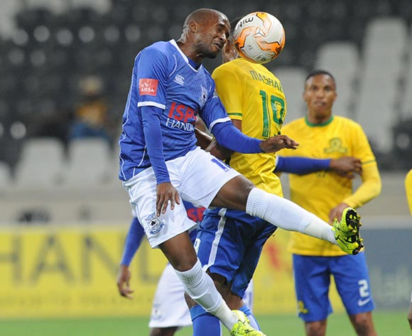 Mzikayise Mashaba of Mamelodi Sundowns challenges for the ball with Bhongolwethu Jayiya of Black Aces  during the Absa Premiership match between Black Aces and Mamelodi Sundowns  on 25 August 2015 at Mbombela Stadium Pic Sydney Mahlangu/ BackpagePix