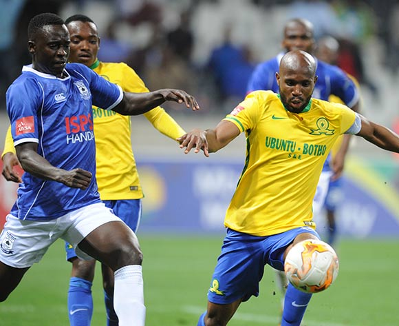Ramahlwe Mphahlele of Mamelodi Sundowns challenges for the ball with Limbikani Mzava of Black Aces during the Absa Premiership match between Black Aces and Mamelodi Sundowns  on 25 August 2015 at Mbombela Stadium Pic Sydney Mahlangu/ BackpagePix