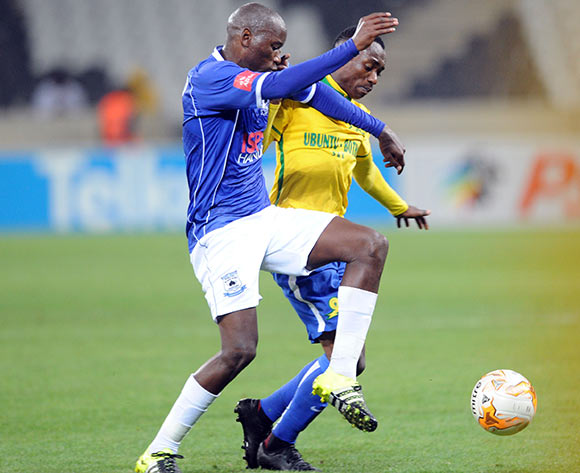 Khama Billiat of Mamelodi Sundowns challenges for the ball with Thanduyise Khuboni of Black Aces  during the Absa Premiership match between Black Aces and Mamelodi Sundowns  on 25 August 2015 at Mbombela Stadium Pic Sydney Mahlangu/ BackpagePix