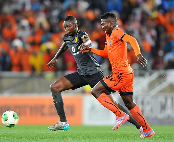 Rendani Ndou of Polokwane City challenged by Erick Mathoho of Kaizer Chiefs during the Absa Premiership match between Polokwane City and Kaizer Chiefs at the Peter Mokaba Stadium in Limpopo, South Africa on August 25, 2015 ©Samuel Shivambu/BackpagePix