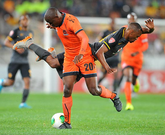 Bernard Parker of Kaizer Chiefs challenged by Jabulani Nene of Polokwane City during the Absa Premiership match between Polokwane City and Kaizer Chiefs at the Peter Mokaba Stadium in Limpopo, South Africa on August 25, 2015 ©Samuel Shivambu/BackpagePix