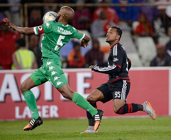 Wandisile Letlabika from Bloemfontein Celtic FC. and  Kermit Erasmus of Orlando Pirates FC during the Absa Premiership match between Bloemfontein Celtic FC and Orlando Pirates FC at the Free State Stadium  on 26 August 2015. ©Gerhard Steenkamp/Backpage Media