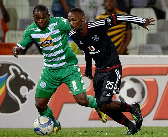 Thabo Rakhale from Orlando Pirates FC and Lantshene Phalane from Bloemfontein Celtic FC. during the Absa Premiership match between Bloemfontein Celtic FC and Orlando Pirates FC at the Free State Stadium  on 26 August 2015. ©Gerhard Steenkamp/Backpage Media