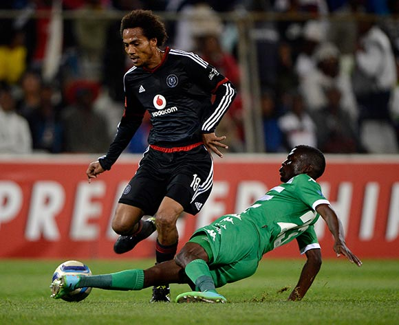 Issa Sarr from Orlando Pirates FC and Vusi Shikweni from Bloemfontein Celtic FC during the Absa Premiership match between Bloemfontein Celtic FC and Orlando Pirates FC at the Free State Stadium  on 26 August 2015. ©Gerhard Steenkamp/Backpage Media