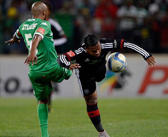 Wandisile Letlabika from Bloemfontein Celtic FC. and Kermit Erasmus from Orlando Pirates FC during the Absa Premiership match between Bloemfontein Celtic FC and Orlando Pirates FC at the Free State Stadium  on 26 August 2015. ©Gerhard Steenkamp/Backpage Media