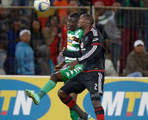 Ayanda Gcaba from Orlando Pirates FC and Vusi Shikweni from Bloemfontein Celtic during the Absa Premiership match between Bloemfontein Celtic FC and Orlando Pirates FC at the Free State Stadium  on 26 August 2015. ©Gerhard Steenkamp/Backpage Media