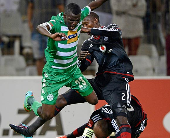 Vusi Shikweni from Bloemfontein Celtic FC and Ayanda Gcaba and Oupa Manyisa of Orlando Pirates FC during the Absa Premiership match between Bloemfontein Celtic FC and Orlando Pirates FC at the Free State Stadium  on 26 August 2015. ©Gerhard Steenkamp/Backpage Media